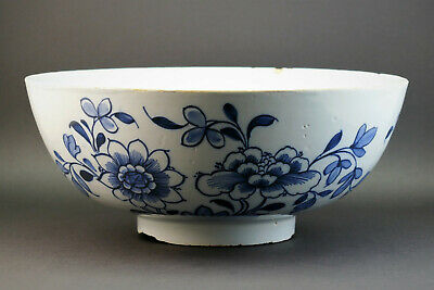 c1750, ANTIQUE 18thC ENGLISH DELFT BLUE AND WHITE CHINOISERIE SERVING PUNCH BOWL