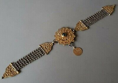 GORGEOUS ANTIQUE GOLD PLATED silver alloy Chains medallion OTTOMAN COIN Mahmud 2