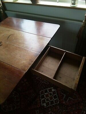 Antique drop leaf table solid wood oak/mahogany dining kitchen occasionall
