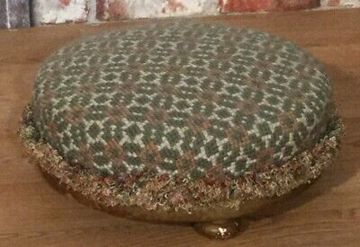 Victorian Low Footstool bun feet upholstered with green/ pink tapestry & trim