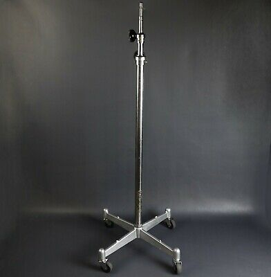 Photogenic Heavy Duty Studio Light Stand Cast Iron Base Chrome Shaft w/ Casters