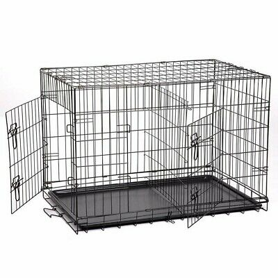 """42"""" 2 Doors Pet Folding Suitcase Dog w/Divider Cat Crate Cage Kennel w/Tray LC"""
