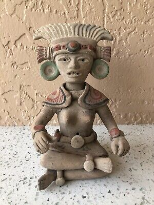 Antique Zapotec Effigy God Figure Seated Pre Columbian Polychrome Statue WOW