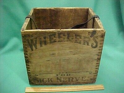 Vintage Wheelers Antique Wooden Crate Nerve Vitalizer Tonic Brant Quack Medicine