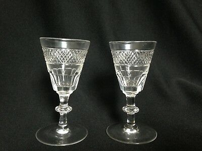 Antique Victorian Crystal TWO Glasses Sherry Port Liquor Stemware 19th Century