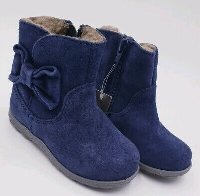 Next Girls Navy Bow Fur Lined Boots Infant Size 5 New.