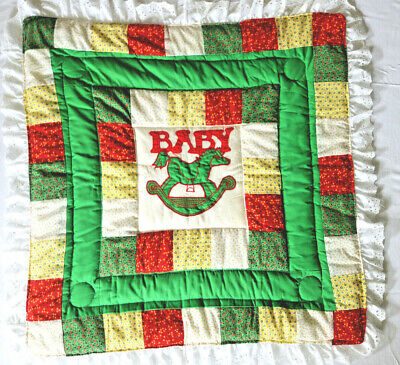 Vintage Applique Rocking Horse Baby Quilt Home Made by Machine 1979