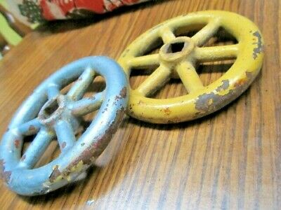 """Two (2)  3 1/2"""" INCH VINTAGE  Steam / Water / Gas  CAST IRON VALVE HANDLE"""