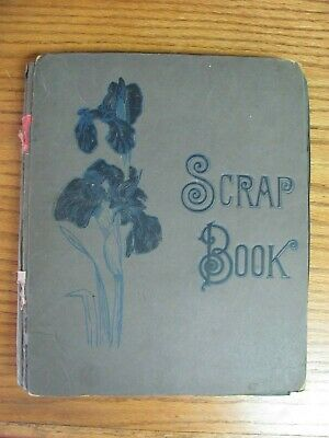 ANTIQUE 19th Century VICTORIAN SCRAPBOOK ALBUM with 50+ Pages of Cut Outs