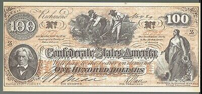 Confederate States of America $100 Banknote  Souvenir Reproduction