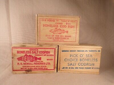 3 Antique Small Wood Box W/ Advertising Newell, PickOSea Star of the Sea Codfish