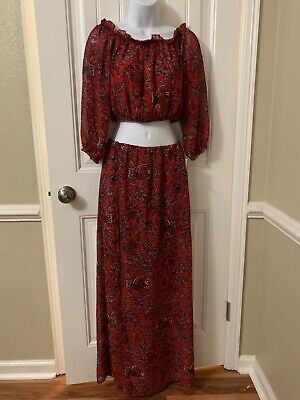 Speechless Red floral Boho Gypsy Top And Bottom