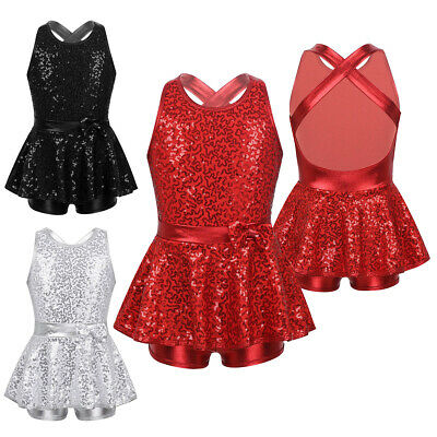 Girls Kids Shiny Ballet Dance Dress Latin Jazz Tap Dancewear Gymnastics Costume