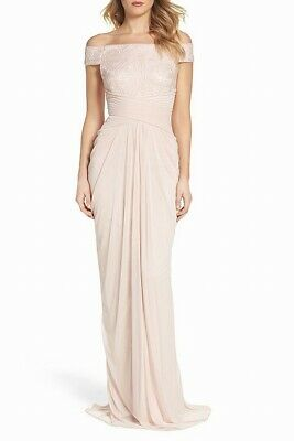 Adrianna Papell Women's Dress Pink US Size 4 Gown Sequin Off-Shoulder $219- #077