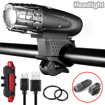 Rechargeable LED Bike Bicycle Light USB Cycle Front Back Headlight Waterproof