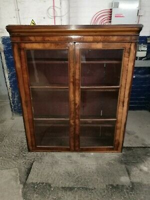 Large ~Antique ~Victorian Display Cabinet ~Bookcase~ Glass Doors ~Flame Mahogany