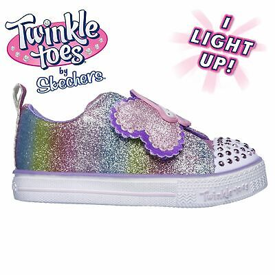 Skechers Twinkle Toes Shuffle Trainers Infant Girls White/Glitter Sneakers Shoes