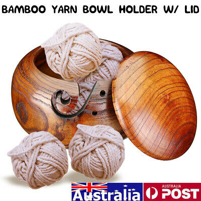 Wooden Yarn Storage Bowl Holder Cover Skeins Knitting Crochet Thread Box AU