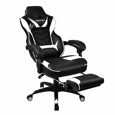 White Racing Gaming Chair High Back PU Leather Task Chair Ergonomic Computer