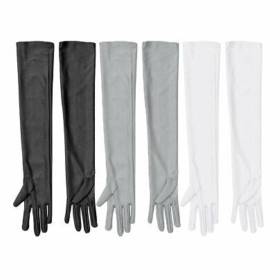 Stretchy Long Gloves Satin Elbow Full Finger Wedding Bridal Sun Protects Mittens