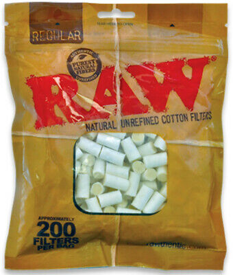RAW Unbleached Regular Cotton Filter Tips 8mm - 200 Tips Per Bag
