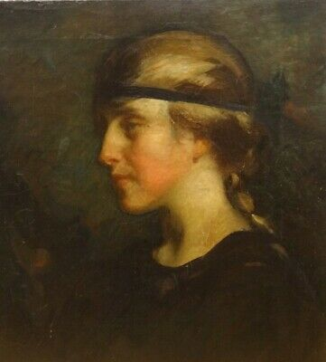 19th Century English Pre-Raphaelite Portrait Of A Girl In Black Signed JDK