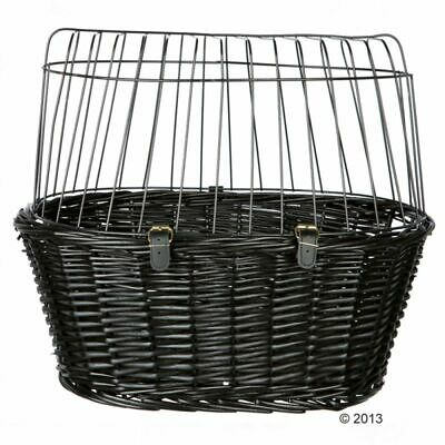 Trixie Bicycle Small Dog Black Wicker Basket Bike Handlebar Rear Wire Mesh Cover