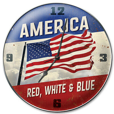 """NEW America Red White Blue Clock - 14"""" USA Hand Made Heavy-Guage Steel Timepiece"""