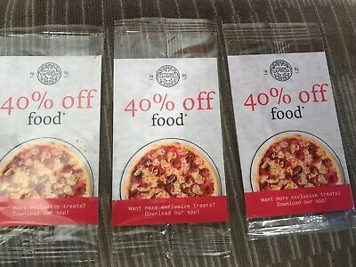 3 X Pizza EXPRESS COUPON VOUCHER 40% OFF FOOD SUNDAY-THURSDAY EXPIRES 8/12/2019