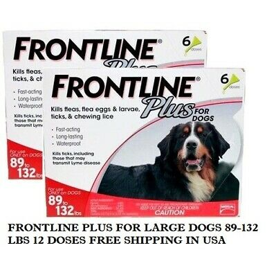 Frontline Plus For Dogs 89-132Lbs 12 Doses Epa Approved Merial Free Shipping Usa