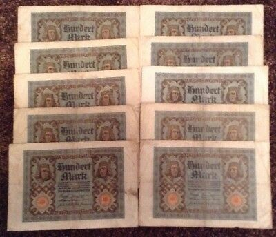 10 X Germany Banknotes. 10 X 100 Mark. Dated 1920. German. Reichsbanknote