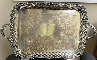 """Victorian Grape Pattern Footed Butler Tray Silver On Copper 27 1/2"""" by 17"""""""