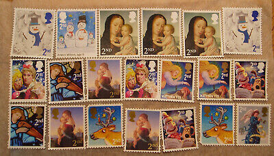 G.B. STAMPS  20 ALL XMAS   2nd CLASS USED  UNFRANKED CLEAN OF PAPER.