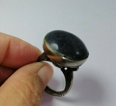 Roman Old wonderful agate stone  black Ancient lovely Silver ring