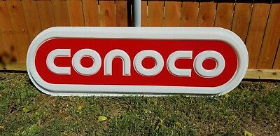 Huge 6 Foot Authentic CONOCO Gas & Oil Service Station Advertising Sign Plastic