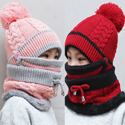 Kids Winter Fleece Beanie Scarf Mask Set Girls Boys Pompom Warm Hat Skiing Caps