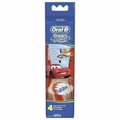 Braun Oral-B Stages Power Kids Replacement Brush Heads Disney Cars 4 Pack