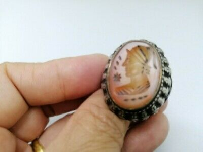 Ancient face King Roman Old wonderful agate stone ovely ring Silver
