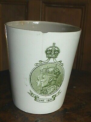 Rare Antique 1902 Edward VII Royal Doulton Coronation Dinner Beaker or Mug A.F.