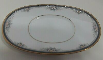 "Noritake Ontario 3763 White 9"" By 5""1/4 Oval Butter Plate Gold Rim"