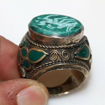 Massive-Near East Post Medieval Silver Plated Decorated Seal Intaglio Ring