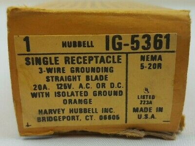 Hubbell IG5361 Orange Industrial Isolated Ground Single Outlet Receptacle 20A
