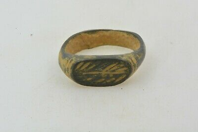 Roman Byzantine Bronze ring engravings 100- 800 AD US size under 1