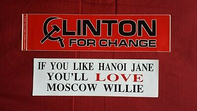 Vintage Clinton For Change - Moscow Willie Political Bumper Stickers (2) 1990's