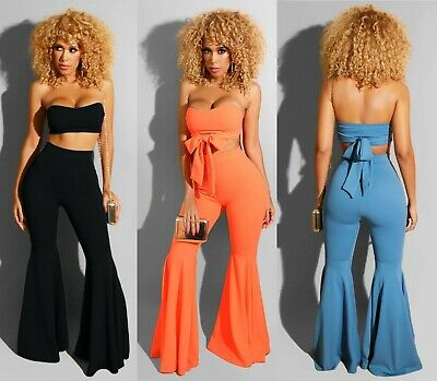 New !! Women's Sexy wrap chest strap Horn flared pants 2 Pic set Club wear Suit