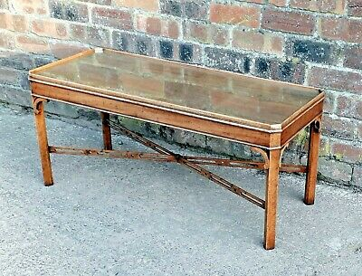 Art Deco antique carved walnut oblong coffee / occasional table glass top