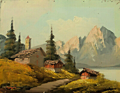 "Swiss Alpine Lanscape Oil on Masonite Board Painting 23"" x 18"""