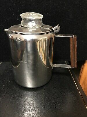 Vintage 3 Cup Stainless Steel 18/8 Percolator Coffee Pot Maker Stove Top Camping