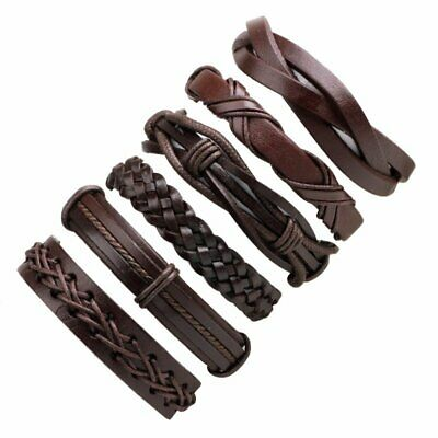 6pcs/set Men Punk Leather Wrap Braided Wristband Cuff Adjustable Bracelet Bangle
