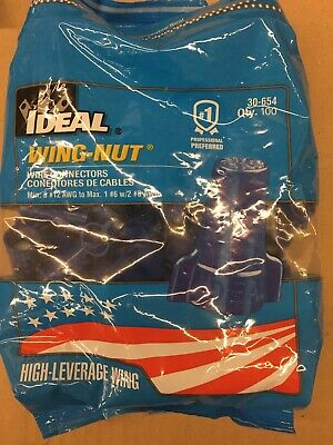 NEW Ideal 30-654 Wing-Nut Wire Connector, Model 454 Blue, 100/bag NIB